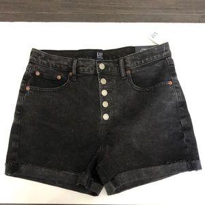 NWT GAP black denim shorts high rise size 29